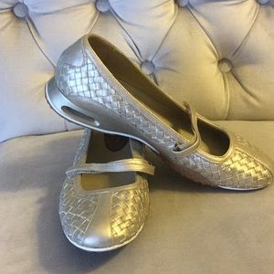 Cole Haan Gold Bria Woven Leather Mary Jane Flats